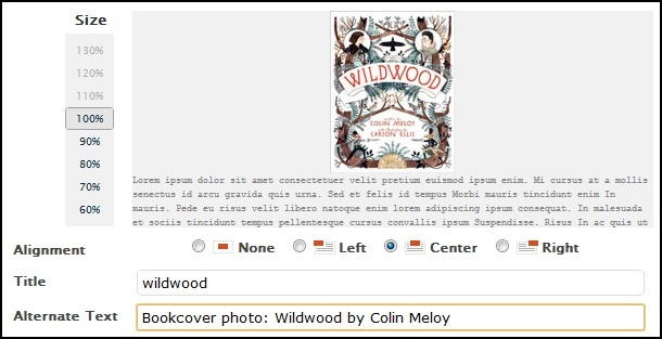 Example of how to add an alternate text tag using the Wildwood book cover.