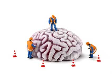 Photo: construction workers surround a giant brain