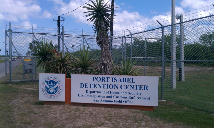 "Photo of sign saying ""PORT ISABEL DETENTION CENTER, Department of Homeland Security, U.S. Customs and Immigration Enforcement, San Antonio Field Office"