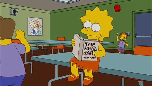 Lisa Simpson reading The Bell Jar