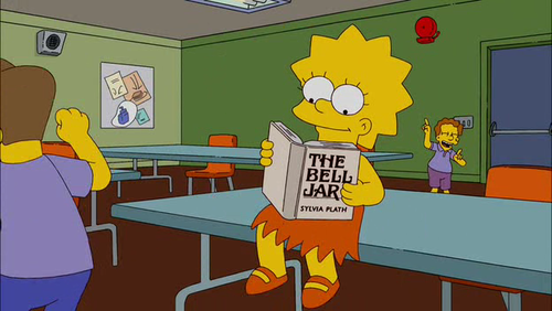 Lisa Simpson reading The Bell Jar