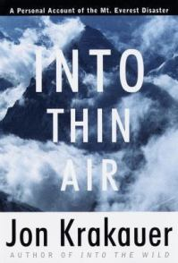 Book cover: Into Thin Air by Jon Krakauer