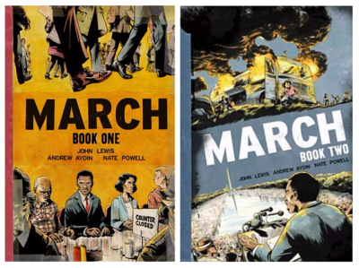 Book covers: March 1 & 2 by John Lewis, Andrew Aydin, and Nate Powell